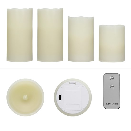 4 Stücke LED-Kerzen mit Fernbedienung, Creme, aus Echtwachs