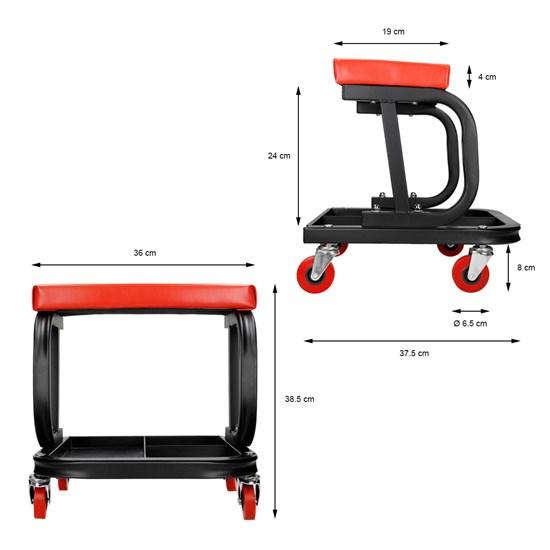 Werkstatthocker mit 4 Rollen und Sitzauflage max.150 kg aus Stahl
