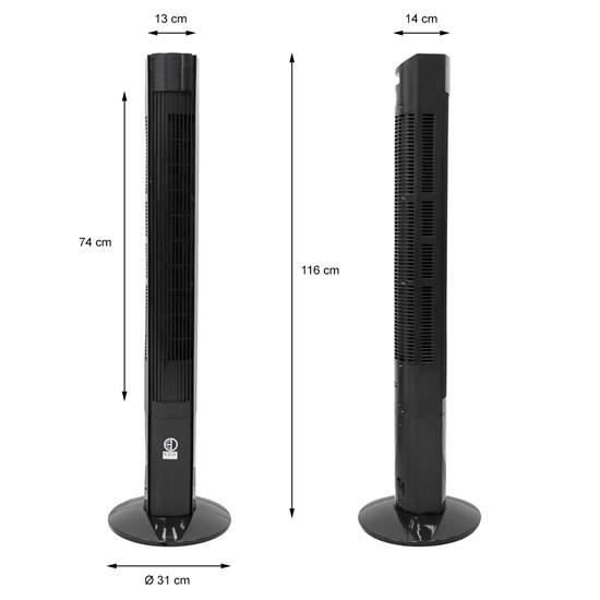 Standventilator 45 W LED Disp Schwarz mit Fernbedienung