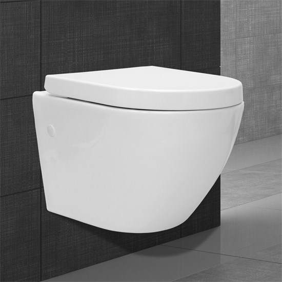 Spülrandloses Wand Hänge WC, Weiß, aus Duroplast