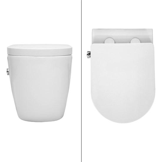 Spülrandloses Wand Hänge WC lange aus Keramik Soft-Close Weiß