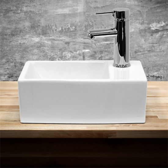 Waschbecken 350 x 205 x 125 mm Keramik Weiß