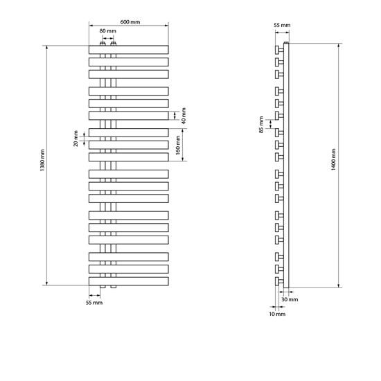 """Designheizkörper """"Iron M"""" mit Heizstab 1200W Weiß 600 x 1400 mm"""