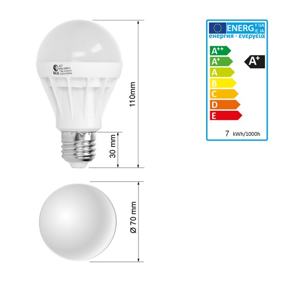 LED Birne E27 7 Watt warmweiß