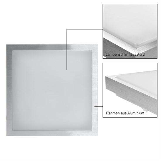 LED-Deckenlampe, Warmweiß, 12W Eckig