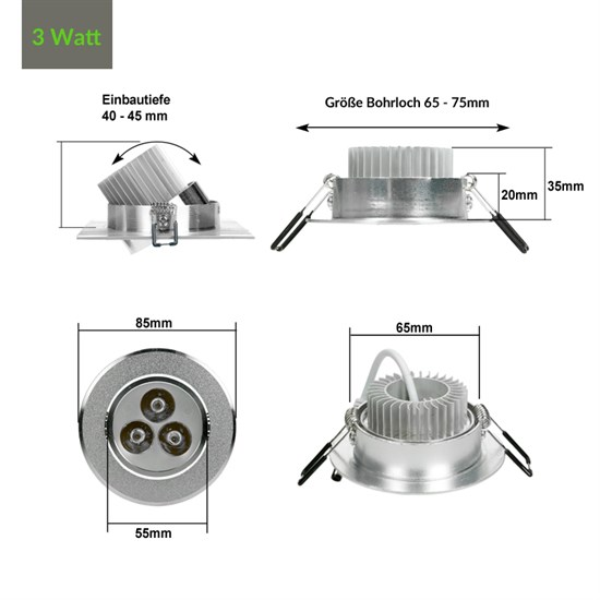 LED Einbauspot 3 Watt Ausf. COB Aluminium schwenkbar warmweiß dimmbar