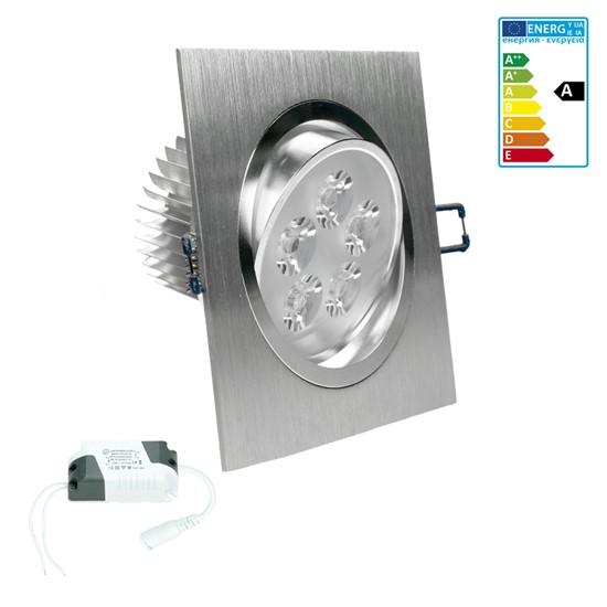 LED-Einbaustrahler 5W, Warmweiß, Eckig