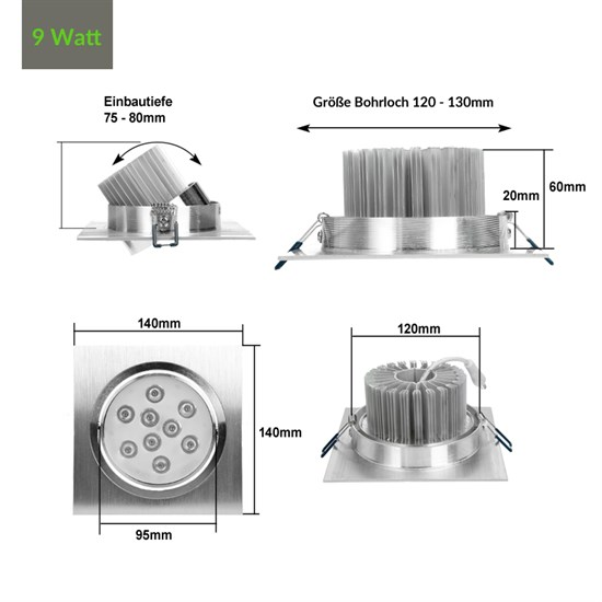 LED Einbauspot 9 Watt Ausf. COB Aluminium schwenkbar warmweiß dimmbar