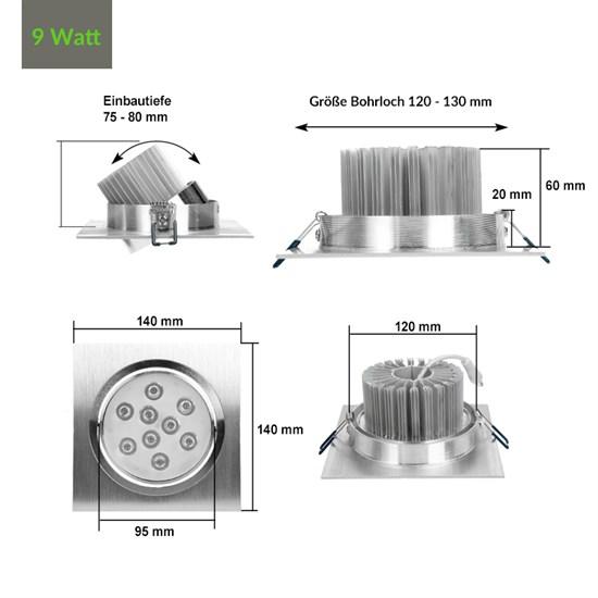 LED-Einbaustrahler 9W, Warmweiß, Eckig