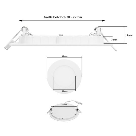 LED-Panel Einbaustrahler 3W, warmweiß, Rund