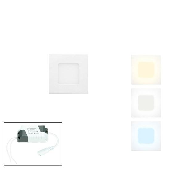 LED-Panel Einbaustrahler 3W, warmweiß, Eckig