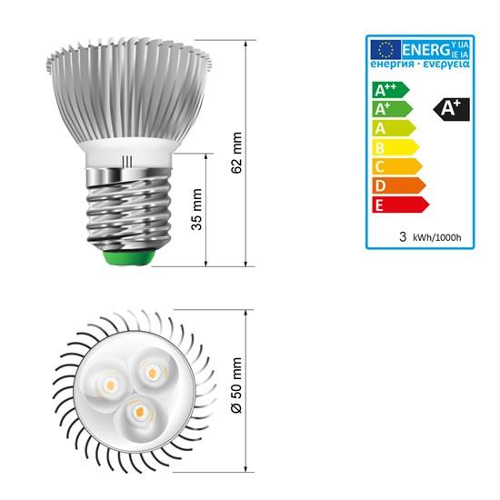 LED-Spot E27, Kaltweiß, 3W