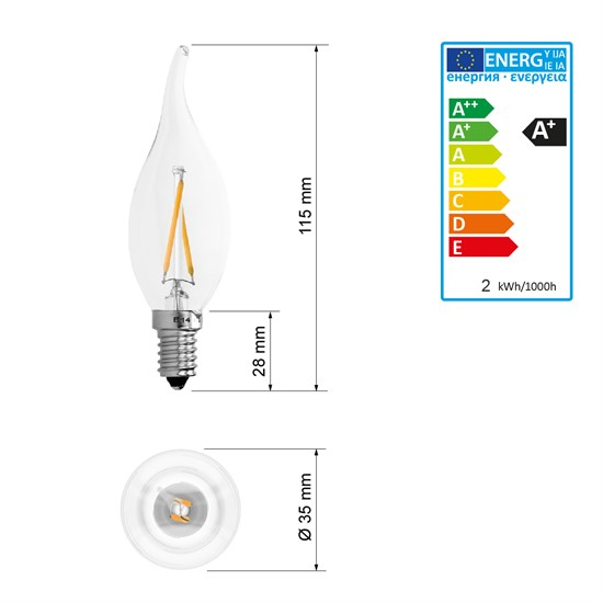 LED-Lampe Windstoß Kerze Warmweiß Filament E14 2W