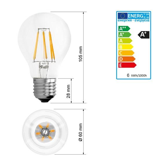 LED-Lampe Birne Filament E27 6W Warmweiß