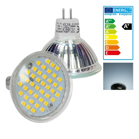 LED Spot MR16 44SMD Glas 3W Kaltweiß
