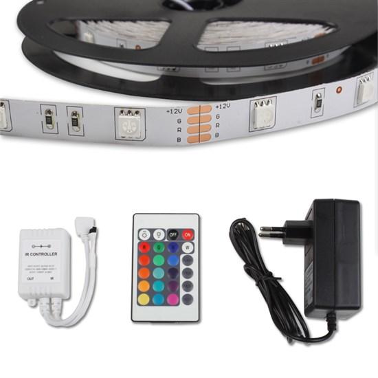 LED-Streifen Set 3 m, RGB, wasserfest - 30 LED pro Meter inkl. Netzteil und kleine Fernbedienung