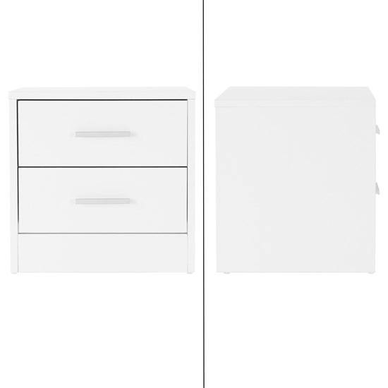 ML-Design Nachttisch weiß, 38x37x34 cm, mit 2 Schubladen, aus Spannplatte