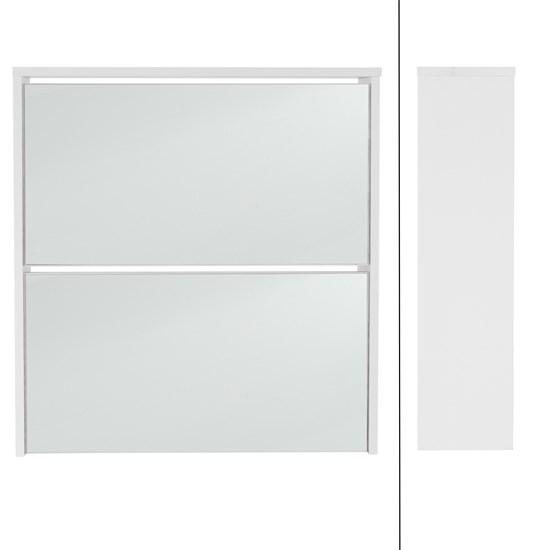 ML-Design Schuhschrank weiß, 63x17x67 cm, mit 2 Fächern, inkl. Spiegel