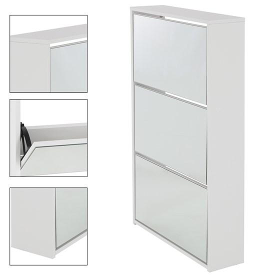 ML-Design Schuhschrank weiß, 63x17x113 cm, mit 3 Fächern, aus Spannplatte, inkl. Spiegel