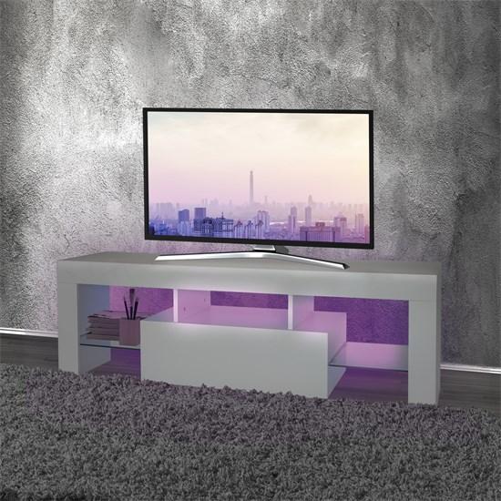 ML-Design TV Lowboard weiß, 130x49x45 cm, mit LED Beleuchtung, aus Spanplatte