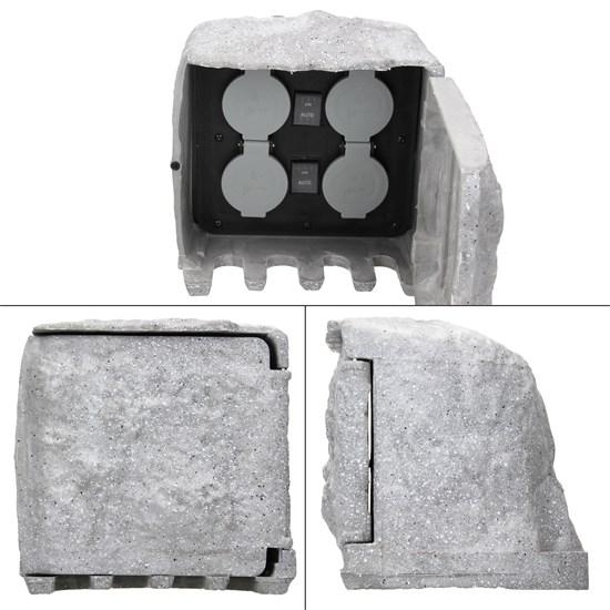 ML-Design 4-fach Gartensteckdosen, IP44, mit Magnetverschluss aus Polyresin