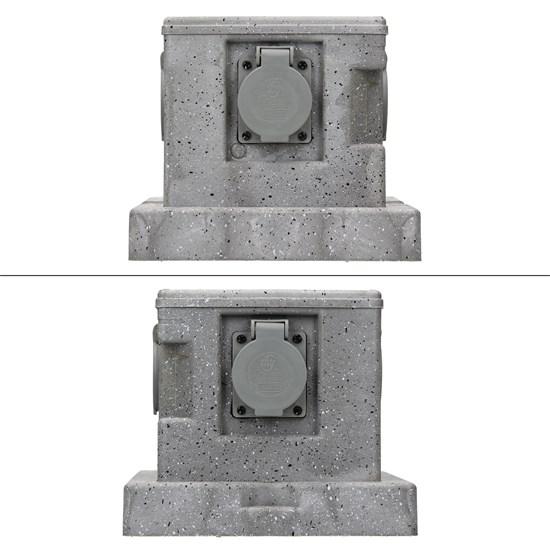 Gartensteckdose 2-Fach Steckdose mit Erdspieß hellgrau ML-Design