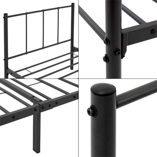 ML-Design Metallbett schwarz, 90x200 cm, auf Stahlrahmen mit Kopfteil und Lattenrost