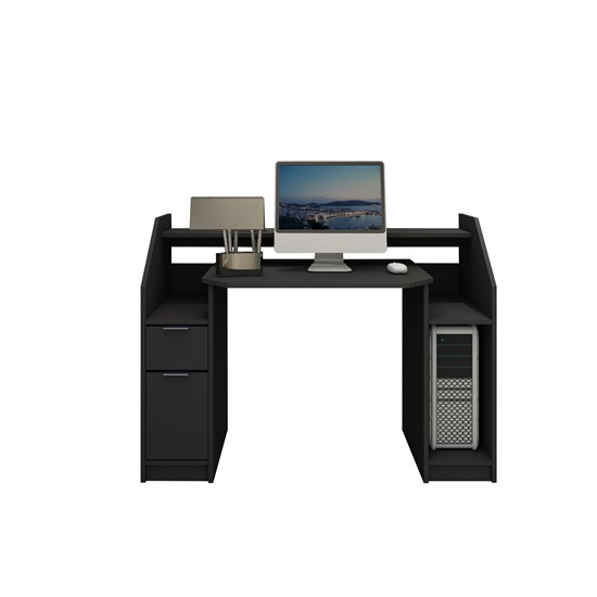 Schreibtisch mit Schublade 123x90 cm schwarz aus MDF ML-Design