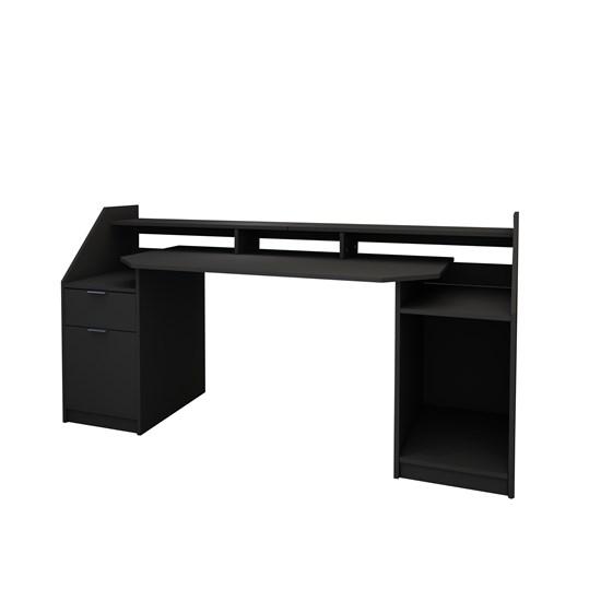 Schreibtisch mit Schublade 180x90 cm schwarz aus MDF ML-Design