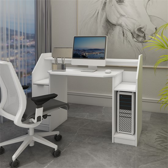 Schreibtisch mit Schublade 123x90 cm weiß aus MDF ML-Design