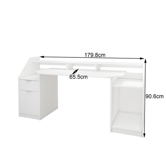 Schreibtisch mit Schublade 180x90 cm weiß aus MDF ML-Design
