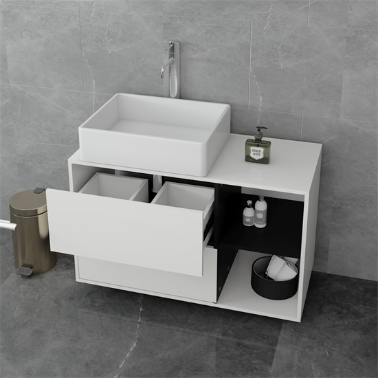 Waschbeckenunterschrank 100x60x45,5 cm weiß/schwarz aus MDF Spanplatte ML-Design