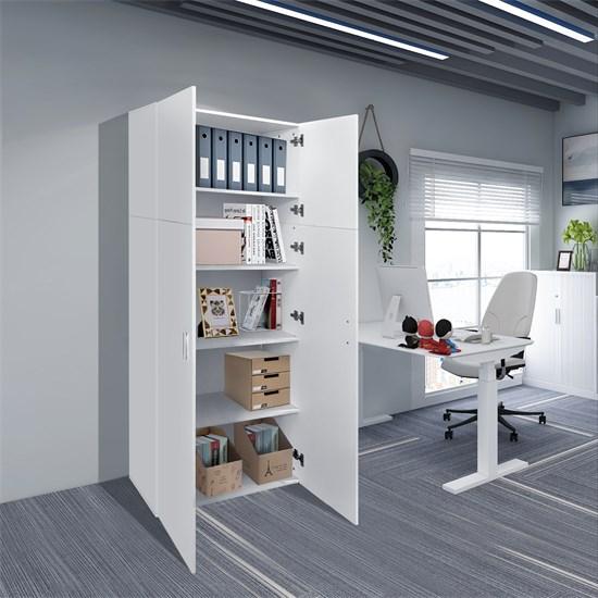 Mehrzweckschrank mit 2 Türen und 5 Fächern weiß aus Holz ML-Design