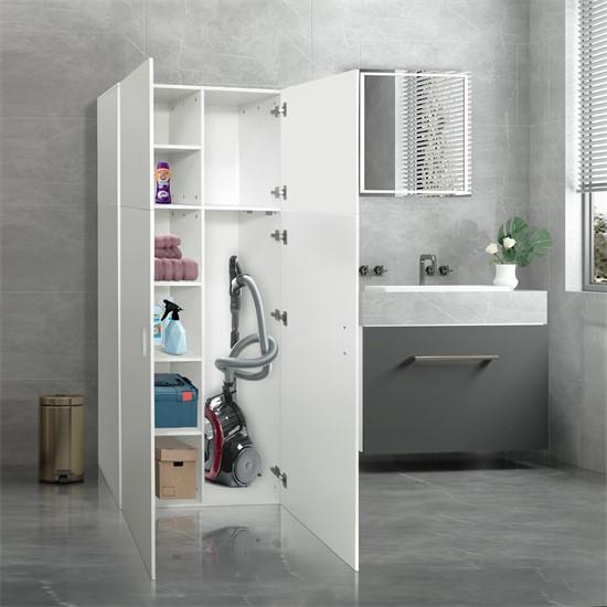 Mehrzweckschrank mit 2 Türen und 8 Fächern weiß aus Holz ML-Design