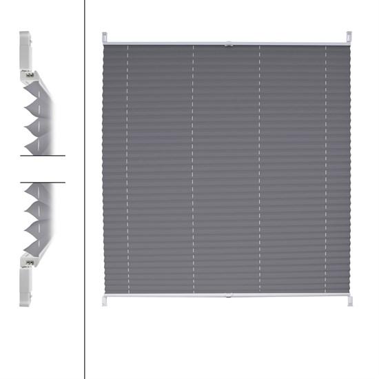Plissee grau, 75x200 cm, inkl. Befestigungsmaterial
