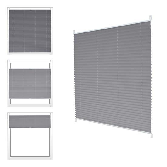 Plissee grau, 90x100 cm, inkl. Befestigungsmaterial