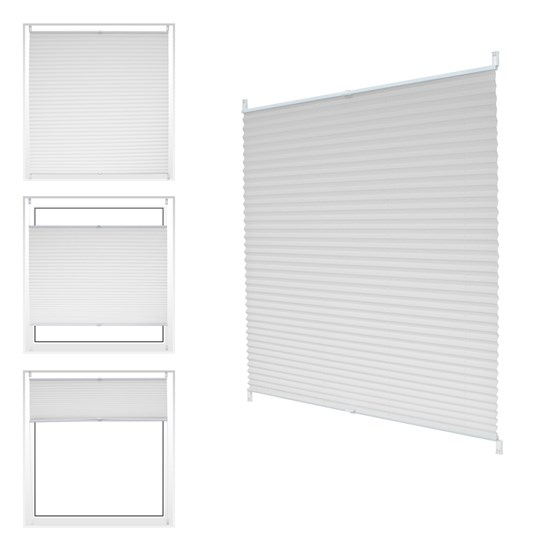 Plissee weiß, 85x150 cm, inkl. Befestigungsmaterial