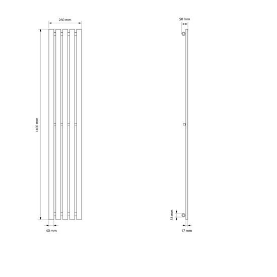 Vertikal Paneelheizkörper Stella anthrazit, 260x1400 mm, mit Mittelanschluss