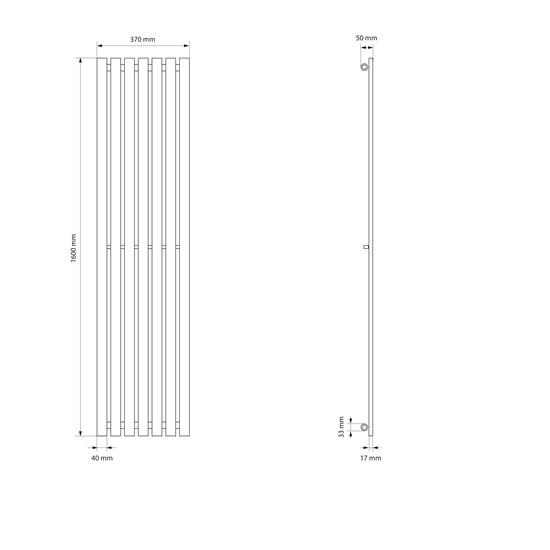 Stella Design Paneelheizkörper 370x1600 mm weiß