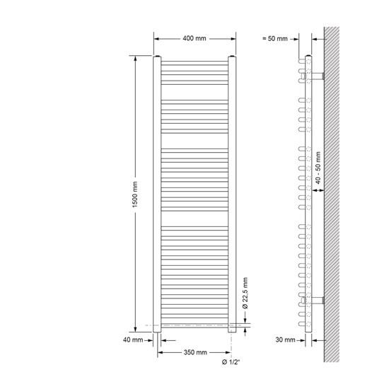 Badheizkörper Elektrisch 400x1500 mm Weiß, gebogen, 900W
