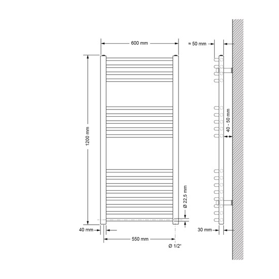 Badheizkörper Elektrisch 600x1200 mm Weiß, gebogen, 1200W