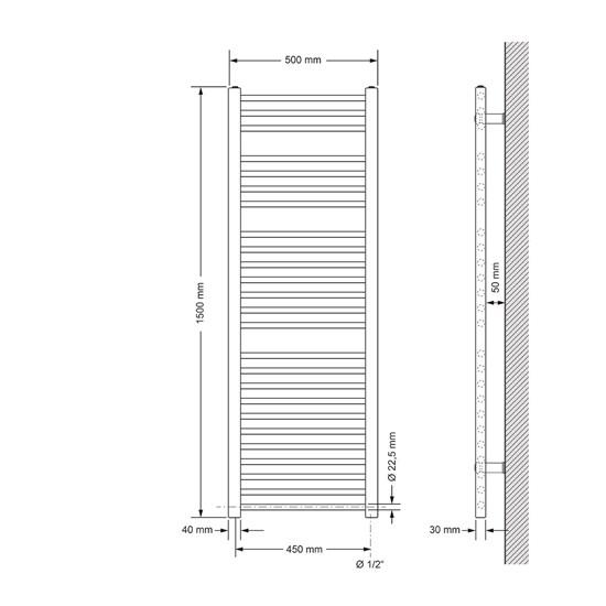 Badheizkörper Sahara 500x1500 mm anthrazit mit Seitenanschluss