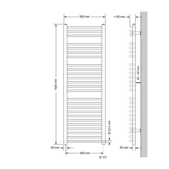 Badheizkörper Sahara 500x1500 mm chrom mit Seitenanschluss
