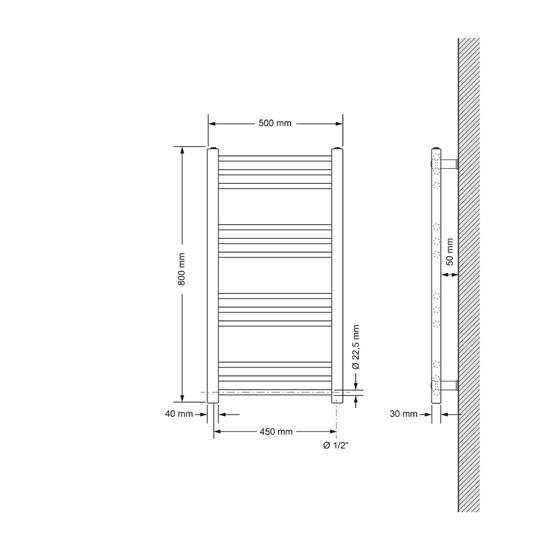 Badheizkörper Sahara 500x800 mm chrom mit Seitenanschluss