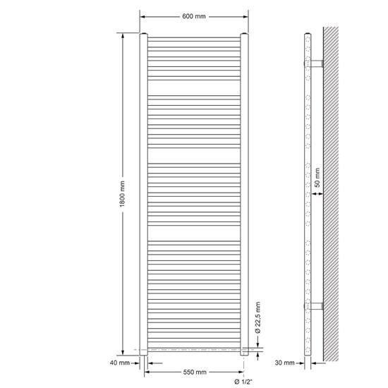 Badheizkörper Sahara 600x1800 mm chrom mit Seitenanschluss
