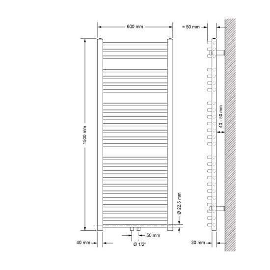 Badheizkörper Sahara 600x1500 mm Chrome gebogen mit Mittelanschluss