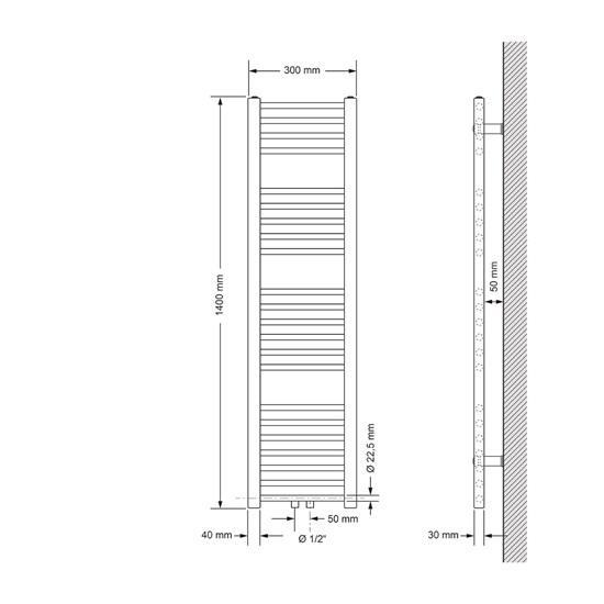 Badheizkörper Sahara 300 x 1400 mm Anthrazit gerade mit Mittelanschluss