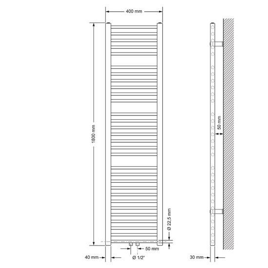 Badheizkörper Sahara 400x1800 mm weiß mit Mittelanschluss