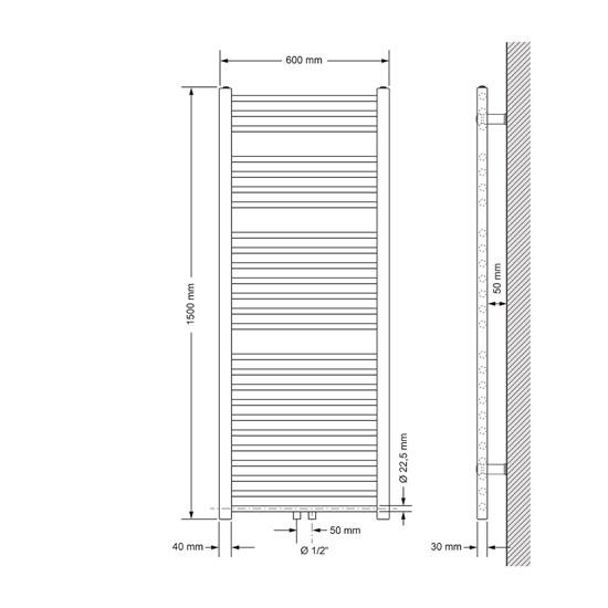 Badheizkörper Sahara 600 x 1500 mm Anthrazit gerade + Mittelanschluss