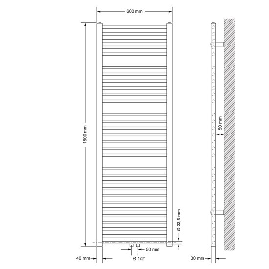Badheizkörper Sahara 600x1800 mm chrom mit Mittelanschluss
